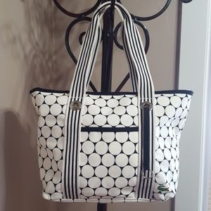 LACOSTE Canvas Travel Zip Top Tote Golf Ball Print